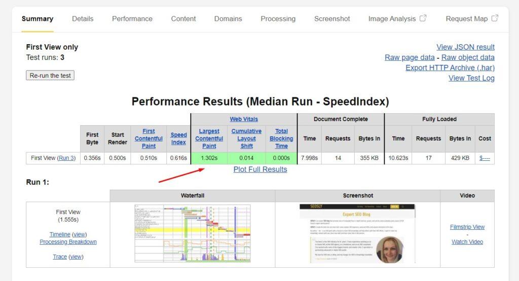 WebPageTest tool measuring Core Web Vitals