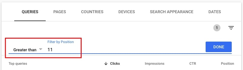 Filtering by position greater than 12 in Google Search Console