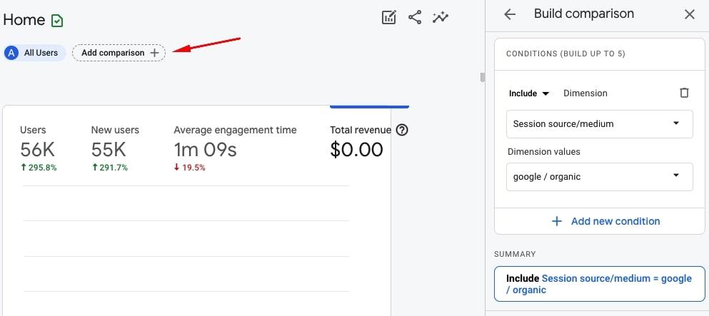 Adding comparisons in Google Analytics 4