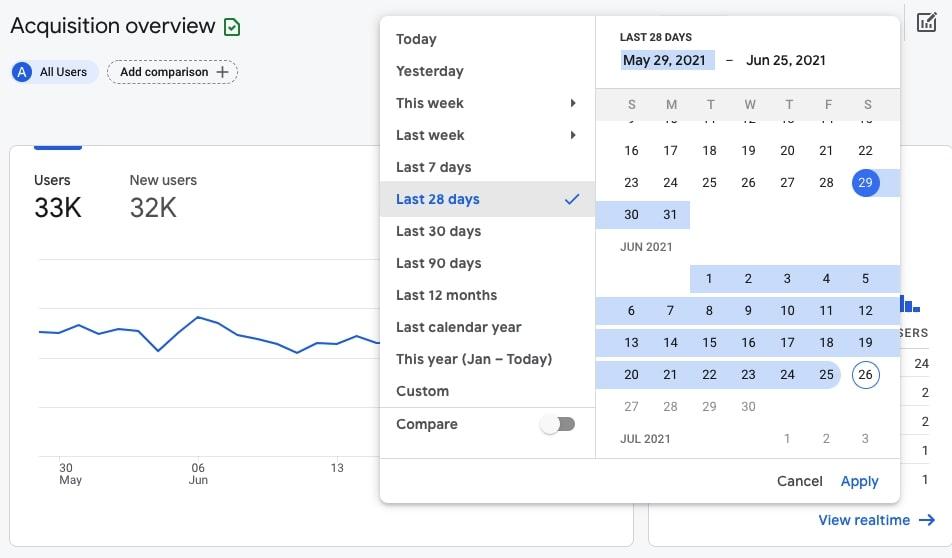 Setting date range in Google Analytics 4