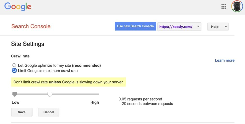 Google Search Console Crawl Rate Settings