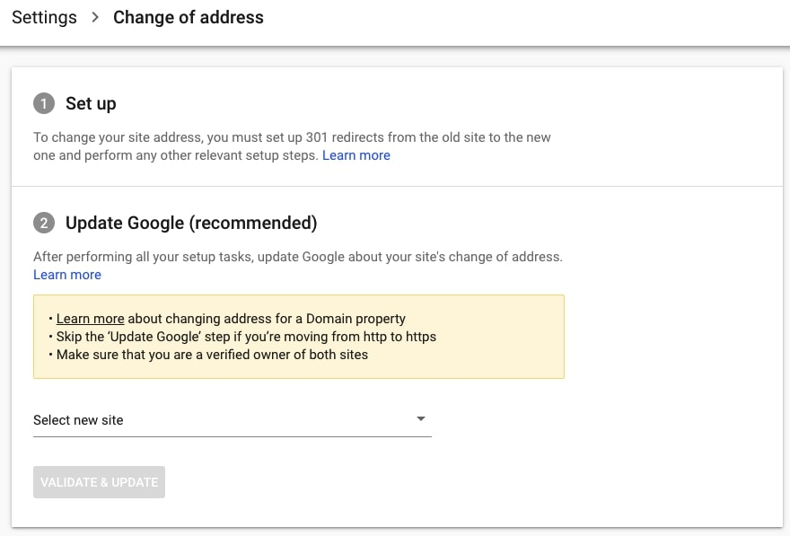 Change of address tool in Google Search Console
