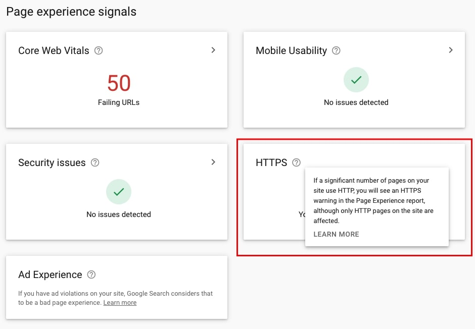 HTTPS in Page Experience report in GSC