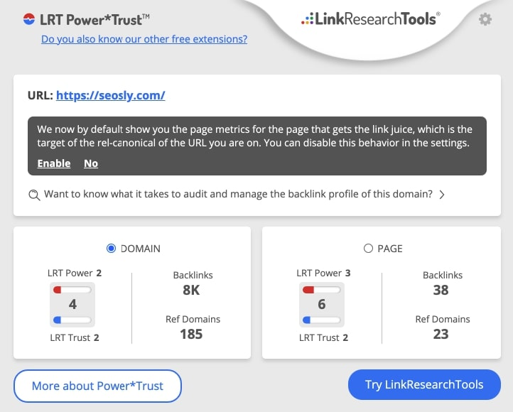 LRT Power Trust SEO Chrome Extension