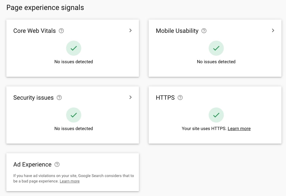 Page experience signals in Google Search Console