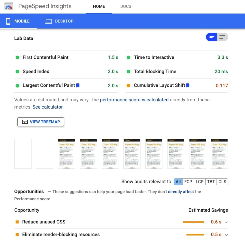 Google PageSpeed Insights results and recommendations