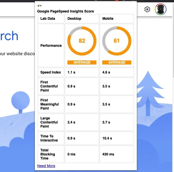 Google PageSpeed Insights API Extension