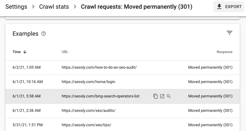 301 crawl requests in Google Search Console