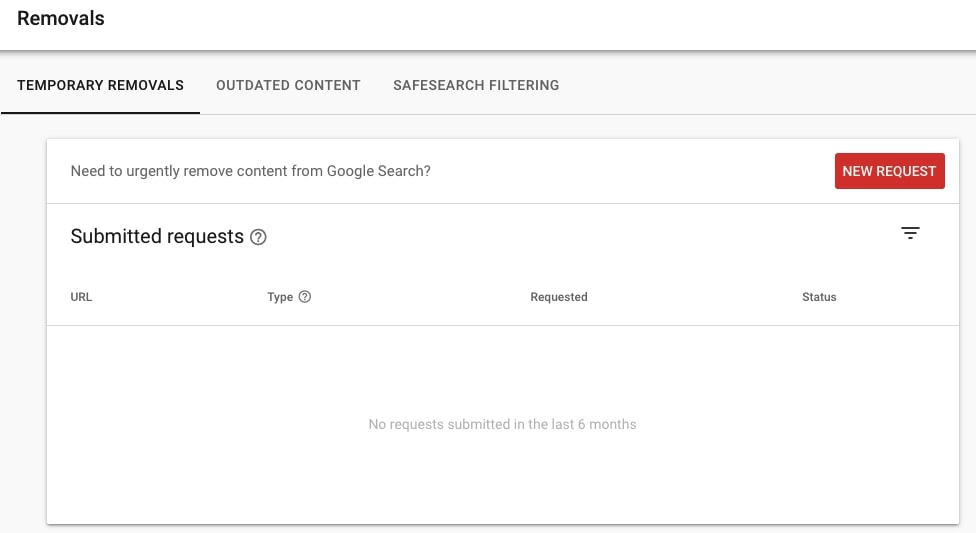 Removal requests in Google Search Console