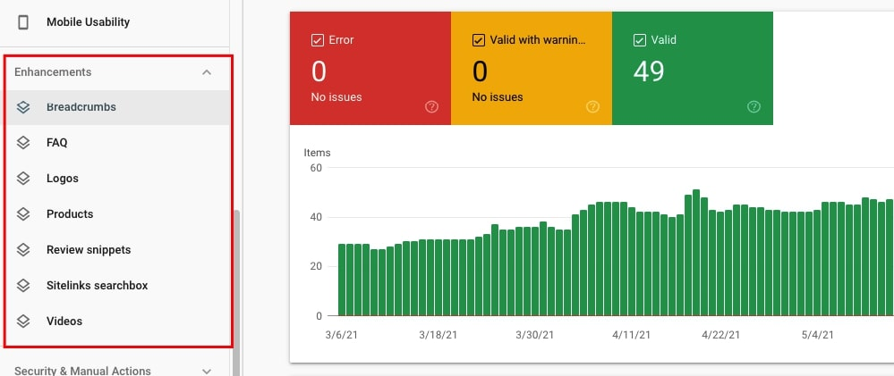 Enhancements report in Google Search Console