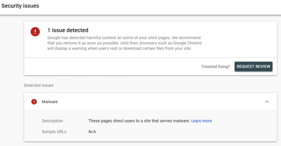 Google Search Console Security Report