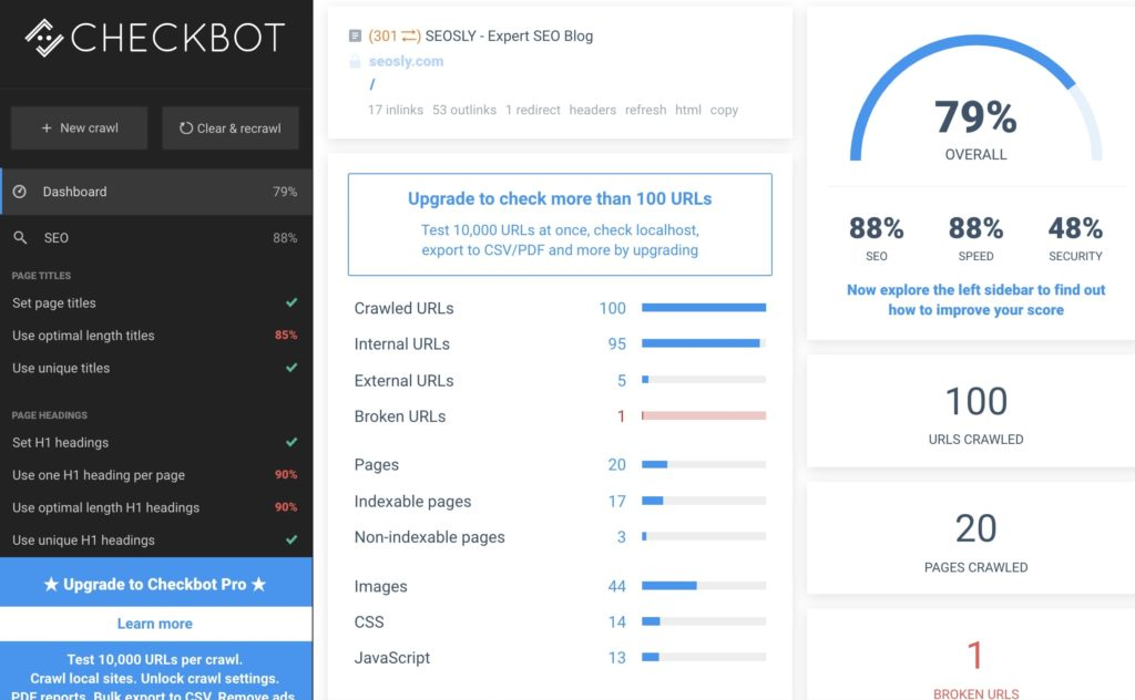 Checkbot: SEO, Web Speed & Security Tester