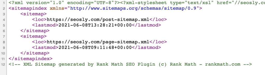XML sitemap at SEOSLY