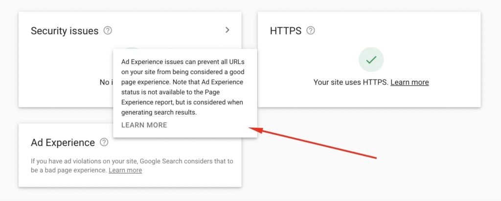 Google Ad Experience in Google Search Console