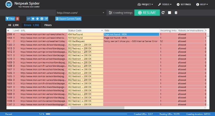 Netpeak Spider SEO audit tool