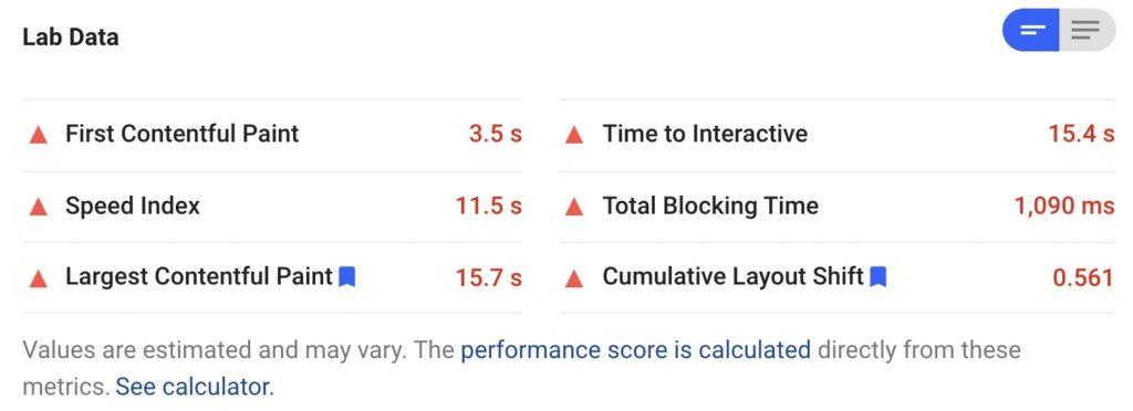 Google PageSpeed Insights lab data